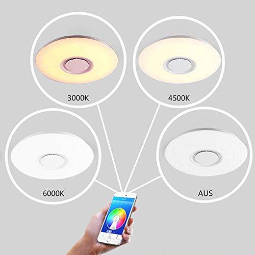 WSYYWD 60w Unterputz Runde Star Music Led Deckenleuchte mit Bluetooth-Lautsprecher, Dimmbare Leuchte Weiß 40x5.5cm