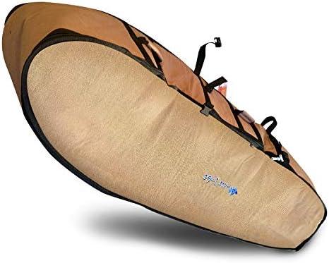 Wave Tribe Wheeled Travel Coffin Boardbag Hemp Reflective Alloy Longboard Board Bag Brown 8 product image