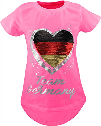 Deutschland Fan Kinder Mädchen Wende Pailletten Lang T-Shirt Bluse Kurzarm Tunika (110-116, Pink Rosa)