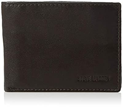 Steve Madden Men's Leather RFID Blocking Wallet with Extra Capacity ID Window, Black, One Size