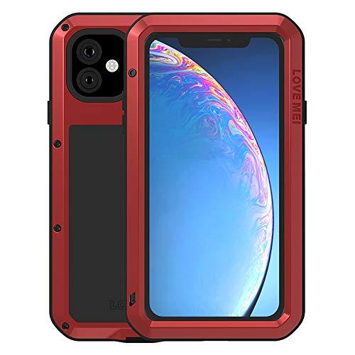 Completo Funda para Apple iPhone 11(6,1-Pulgada), Love Mei Antichoque Al Aire Libre Híbrido Aluminio Metal Antipolvo Carcasas con Vidrio Templado, Soporte de Carga inalámbrica (Rojo)