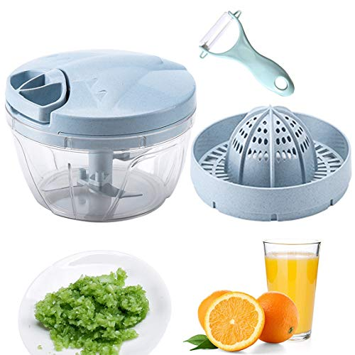 CROING Easy Pull Manueller Zerkleinerer mit Zitruspresse-Aufsatz und 1 Stück Schäler, Manuelle Küchenmaschine, Zitronenpresse, Orangensaftpresse, Gemüsemischer 500 ml