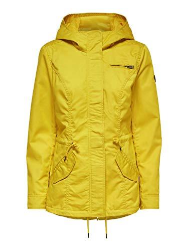 ONLY Damen Parka Übergangsjacke Kurzmantel Kapuzenjacke (40 (Herstellergröße: L), Yolk Yellow)