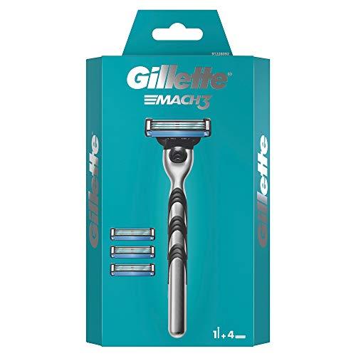 Gillette Mach3 Rasierer Herren mit verbesserten Feuchtigkeitsstreifen, Rasierer + 4 Rasierklingen