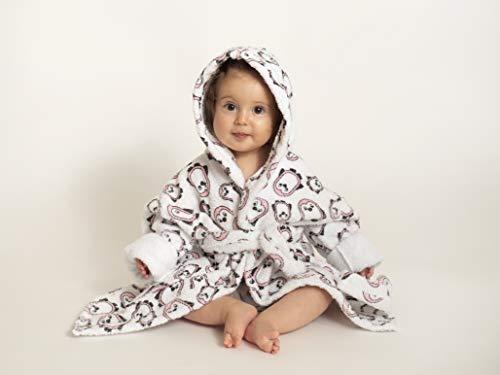 Ti TIN - frottee Kinderbademantel | Bademantel für Babies von 1 bis 2 Jahren, aus 100% Baumwolle, Babybademantel mit Pinguinen, rosa