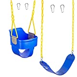 Squirrel Products High Back Full Bucket Swing 2.0 with Triangle and Chain Dip and Heavy Duty Strap Swing Seat Combo Pack with Carabiners - Blue