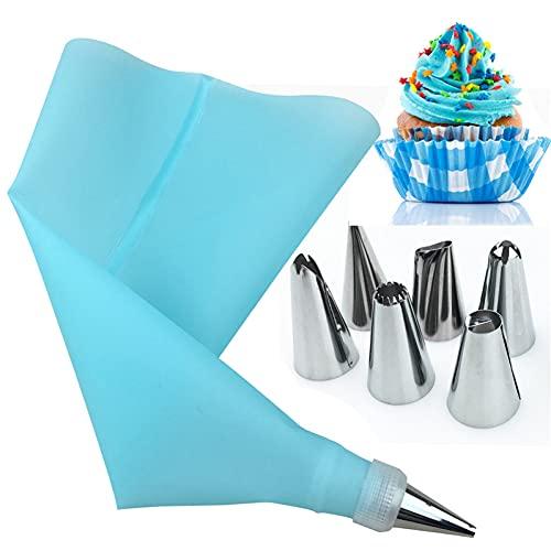 Nicejoy /Set Silicona Accesorios de Cocina Icing Piping Crema Pastelería Bolsa 6 Acero Inoxidable Boquilla Decoración de Pastel Consejos Set