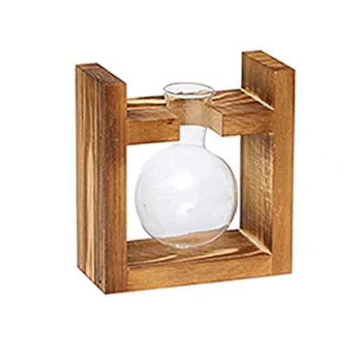 Plantador de escritorio de cristal sola bombilla florero terrario Aire Sembradora con Soporte de madera de la vendimia para jardín decoración de la oficina, hidropónico florero
