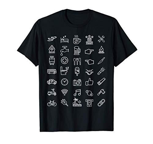 Travel Icons Shirt Lustiger Reisender Hack Language T-Shirt