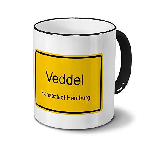 Städtetasse Veddel - Hansestadt Hamburg - Design Ortsschild - Stadt-Tasse, City-Mug, Becher Schwarz