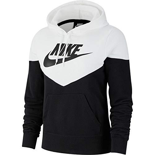 Nike Damen Damen Hoodie Heritage FLC Hoodie, Black/White/Black, S, AR2509