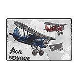 huagu Alfombrilla de baño,Decoraciones para Fiestas de Despedida,póster de avión Retro Inspirado Bon Voyage Permite Volar,Azul Rojo Gris,Alfombra de baño 45cmx75cm