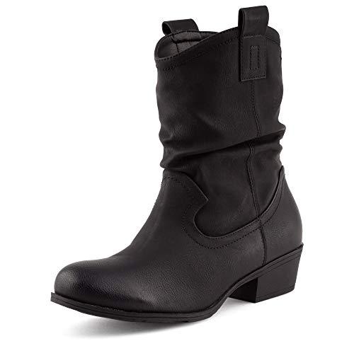 Fusskleidung Damen Western Stiefel Stiefeletten Boots Leicht Gefüttert Cowboy Schwarz EU 36