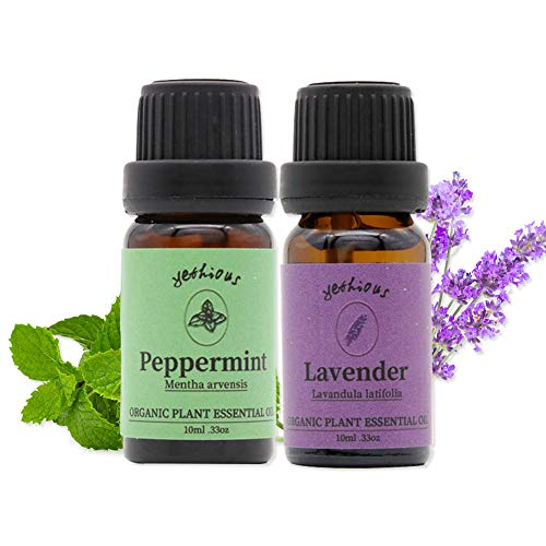 Yethious 2 Pack Peppermint Lavender Essential Oils Set 10ml 0.33oz 100% Organic Pure Essential Oil for Diffuser Humidifier Skin and Hair Care Therapeutic Grade Aromatherapy Gift Oil