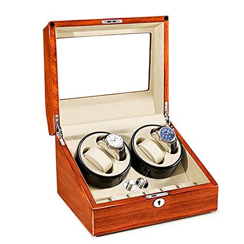 AMAFS Reloj Caja automática enrolladora de Reloj Motor silencioso Caja de Reloj giratoria Carcasa de Madera 5 Modos de rotación Caja de joyería de bobinado Festival