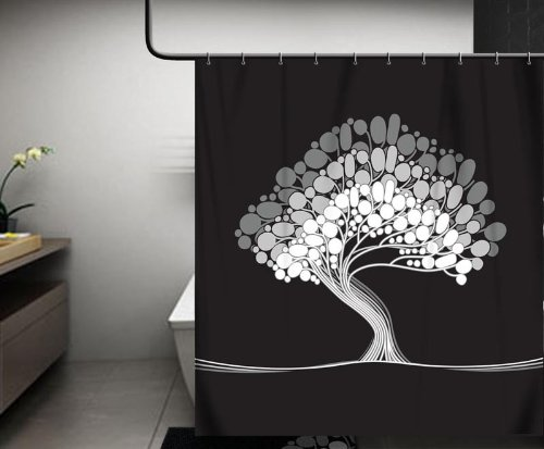 Black and White modern and contemporary tree shower curtain