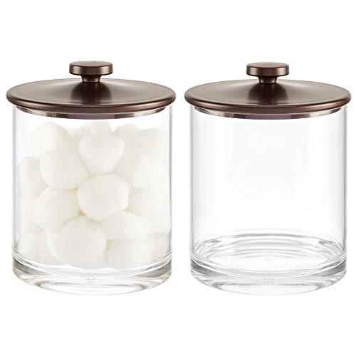 mDesign Moderno Bote Transparente con Tapa – Caja Redonda de plástico para bastoncillos – Organizador de baño para Discos de algodón – Juego de 2 – Color Bronce y Transparente