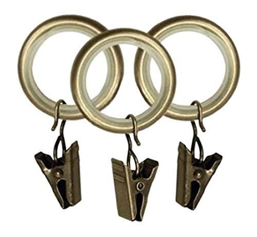 Gardinenringe mit Klammern Leise Rutenringe Für 25mm Stangen Messing Antik 20x