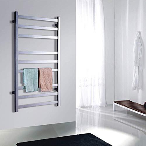 Nuokix Calentador de Toallas for el baño de Cromo Pulido toallero 9 de la Barra Redonda climatizada toallero 39.37 * 23.62 Pulgadas Secado Rápido