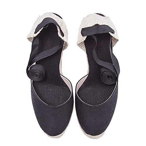 Sandalias de tacón de cuña de verano para mujer, zapatos casuales de alpargatas con punta puntiaguda a la moda, sandalias trenzadas con vendaje cruzado y cómodo