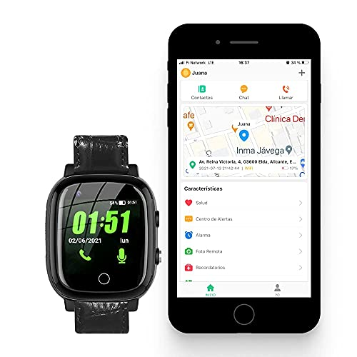 Reloj Localizador GPS Personas Mayores, Niños, Alzheimer, Botón SOS, Detector Caída, Teléfono, App Español, Reloj Abu Family Care, Manual Español