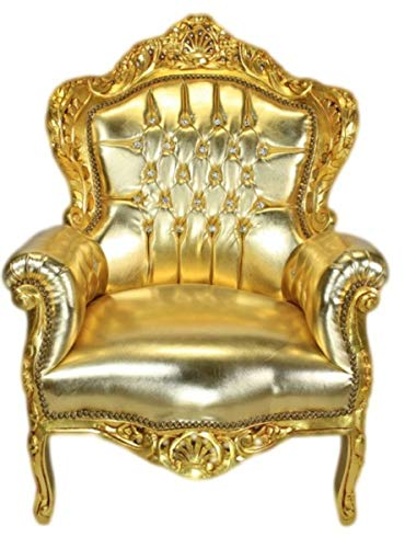 Casa Padrino Barock Sessel 'King' Gold/Gold Lederoptik mit Bling Bling Glitzersteinen