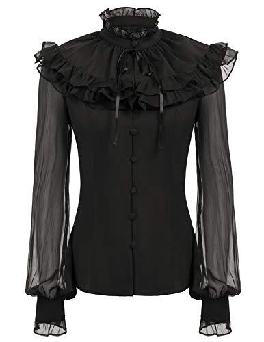 Womens Long Sleeve Vintage Shirts Ruffle Tops Cictorian Blouse + Cape Black XL