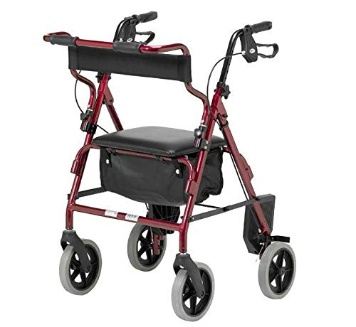 Homecraft Rollator and Transit Chair Combination, Padded Seat and Backrest, Lockable Brakes, Foot Rests and Belt for Safety, Walking Mobility Aid, Burgundy, (Eligible for VAT relief in the UK)