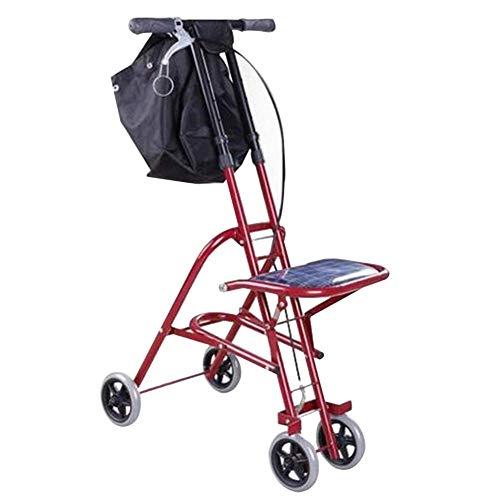 HYRL Viejo Hombre Carrito de Compras Carro, bastón de Cuatro Patas Plegable Walker Ligero pasamanos Ajustable Sentado y Plegable Carro de Compras Walker