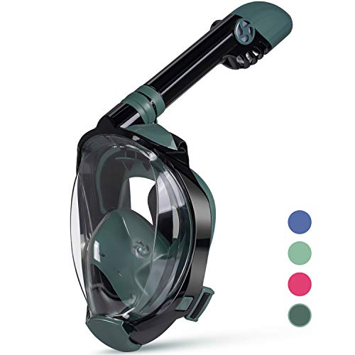 OUSPT Full Face Snorkel Mask, Snorkeling Mask with Detachable Camera Mount, Panoramic 206° View Upgraded Dive Mask with Safety Breathing System, Dry Top Set Anti-Fog Anti-Leak