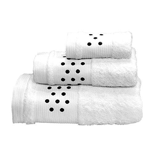 Lunares Toallas De Baño De–Juego de 3piezas–Toalla de mano, toalla de baño (+ + toalla para la cara (–Blanco W/Negro