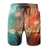 Inaayayi Go-Dzi-Lla - Pantalones cortos de playa para hombre, estilo informal, de secado rápido, con múltiples bolsillos y forro de malla