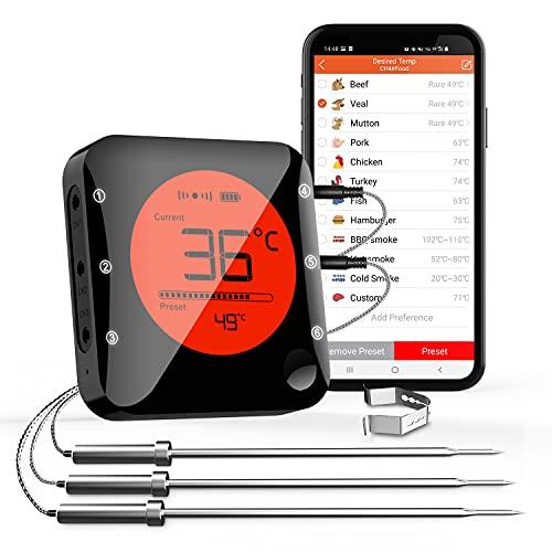 Küche Bluetooth Thermometer Digitale Grillthermometer mit 3 Temperaturfühler Fleischthermometer mit Alarm Polierte Schale für Grill BBQ Freund Geschenk