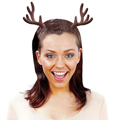 NET TOYS Märchenhafter Rentier-Haarreif mit Geweih - Braun - Zauberhafter Damen-Kopfschmuck Hirsch-Geweih auf Reif - Wie geschaffen für Weihnachten & Mottoparty
