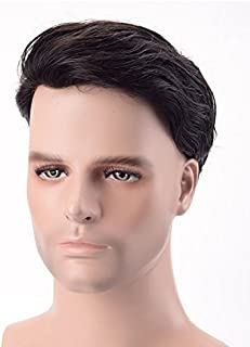 Fraser Hair Super Durable and 100% Human Hair System for Men. Size 9/7 Natural Black Straight Hair Fine Mono with PU Perimeter and Folded Lace Front Color 1B.