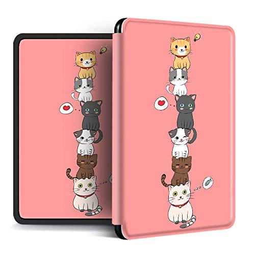FundaparaKindlePaperwhite,Estuche para Kindle Amazon Kindle con Función De Activación/Reposo Automático Dibujos Animados Patrón De Animal De Gato Funda para Kindle