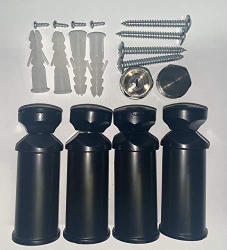 Soporte para radiadores de baño en blanco, cromo y negro, adecuado para radiadores rectos y curvos (negro)