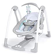 Bring baby's favourite seat on-the-go with this small baby swing 2-in-1 design converts from swing to vibrating seat Features 5 swing settings, automatic swinging and vibrating Quiet motor plus 12 soothing melodies and 4 nature sounds Foldable design...