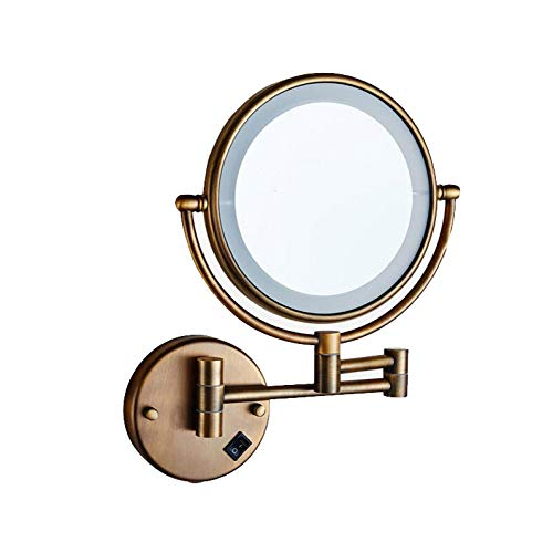 Bath Miroir de beauté avec lumière et grossissement, miroirs muraux à Double Face,Antique_8inch