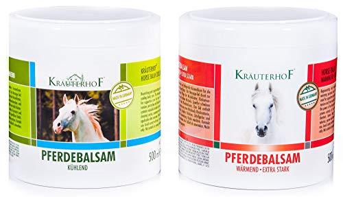 Kräuterhof® Pferdebalsam Set - (1 x wärmend und 1 x kühlend) 500ml Dosen mit Alufolie versiegelt