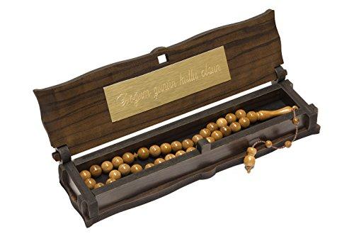 Gök-Türk Gebetskette - Kuka Tesbih mit Schatulle mit IHRER Gravur Braune 33 Perlen aus Holz