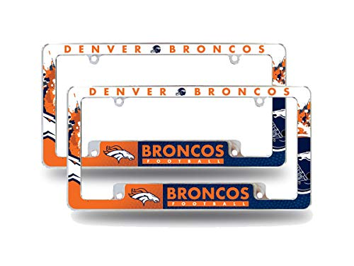 Rico Denver Broncos NFL (Set of 2) Chrome Metal License Plate Frames with Bold Full Frame Design