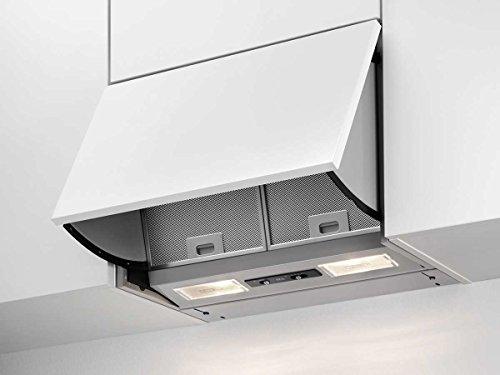 AEG DEB2530S Dunstabzugshaube (Einbau) / klappbare Abzugshaube stufenlos regelbar mit Intensivstufe / 56 cm Einbauhaube / dezenter Dunstabzug mit Leuchtstofflampe / Klasse D (106,1 kWh/Jahr) / grau