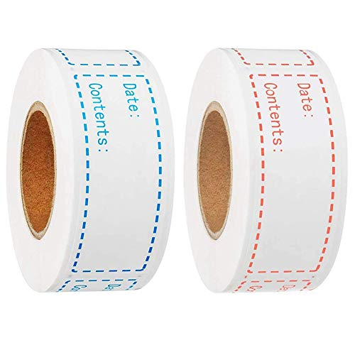 2 Rolls Freezer Food Labels, Dissolvable Prepared Food Label Freezer Paper Labels Food Preparation Stickers Date Labels for Food Self Adhesive Removable Waterproof Blue and Pink(1×3in)