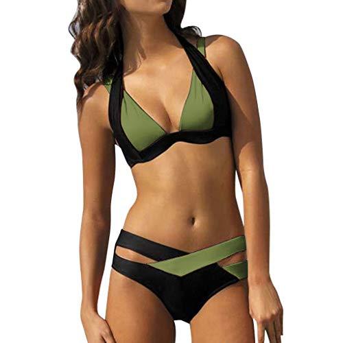 WOCACHI Women's Bikini Sets Two Pieces Criss Cross Crochet Lace High Waist Color Block Bathing Suit Swimsuit Beachwear 2020 New Summer Under 10 Dollars Prime Deals 2PCS Ladies Vacation Swimwear