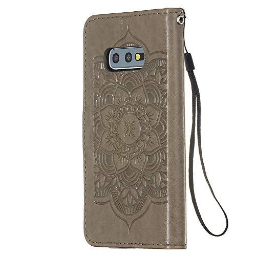 FAWUMAN Hülle für Samsung Galaxy S10e Mit Schlüsselband,PU Klapphülle Brieftasche Kartenfächer Handyhülle Stylish Flip Magnetverschluss Geschlossen Case mit Standfunktion,3D Traumfänger(Grau)
