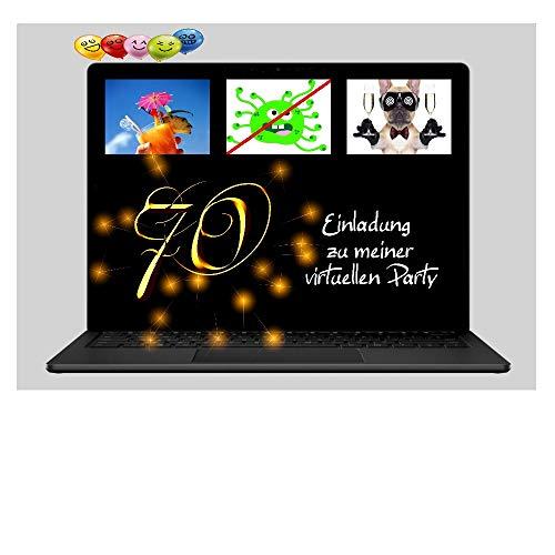 DigitalOase 2 Einladungskarten 70. Geburtstag VIRTUELLE PARTY Online Party MIT INNENTEXT 2 Klappkarten 2 Kuverts Format DIN A6#VIRTUAL