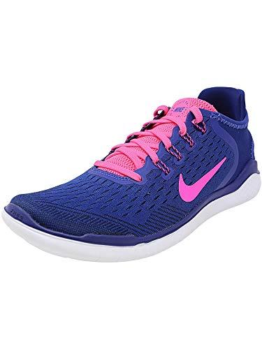 NIKE Women's Free RN 2018 Running Shoe Deep Royal Blue/Pink Blast/Obsidian Size 8 M US