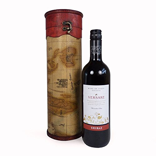 750ml Versare Red Wine in a Vintage Style Wooden Wine Chest - Idea for Christmas, Mum, Mothers Day, Birthday, Anniversary and Thank You, Dad, Fathers Day, Christmas