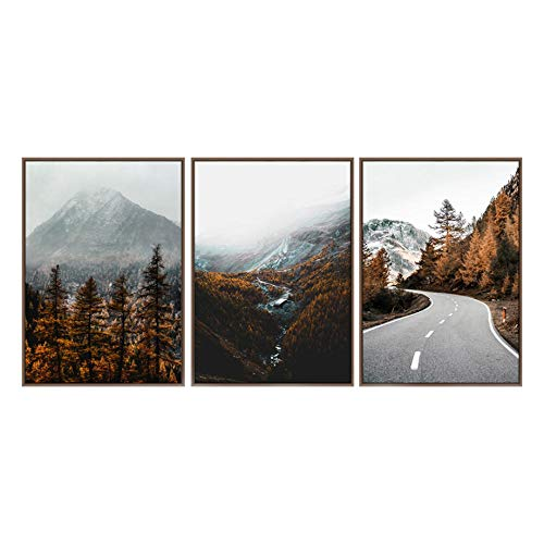 Autumn Forest Scenery Posters Mountain Fog Forest Road Wall Art Prints Travel Nordic Landscape Canvas Painting Living Room Decor 40x60cmx3 No Frame